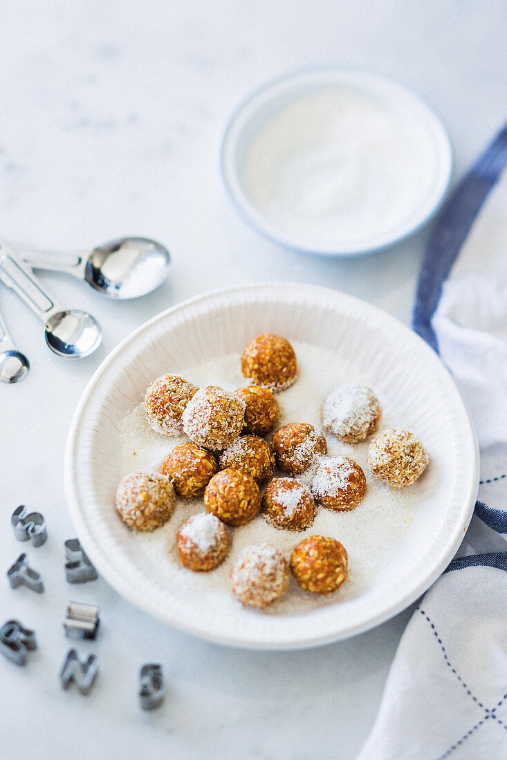 Home-made apricot balls