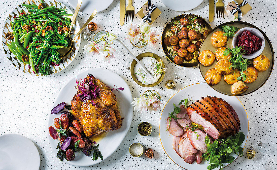 Festive xmas menue with gammon and roasted chicken