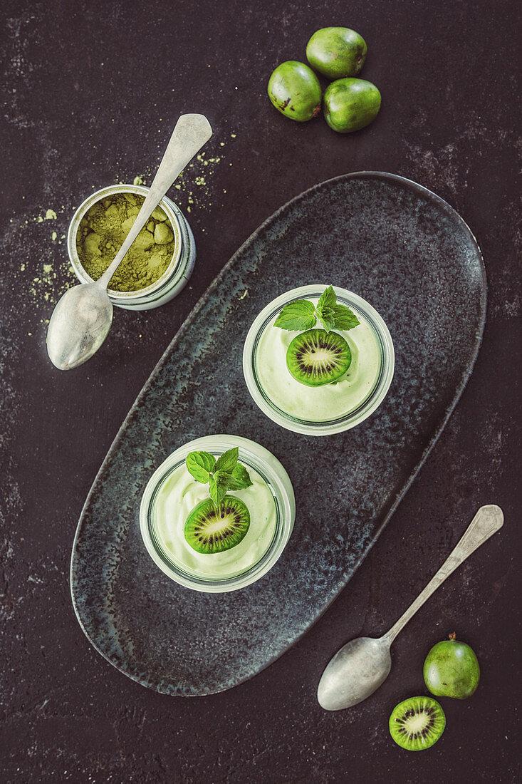 Matcha quark mousse with kiwi