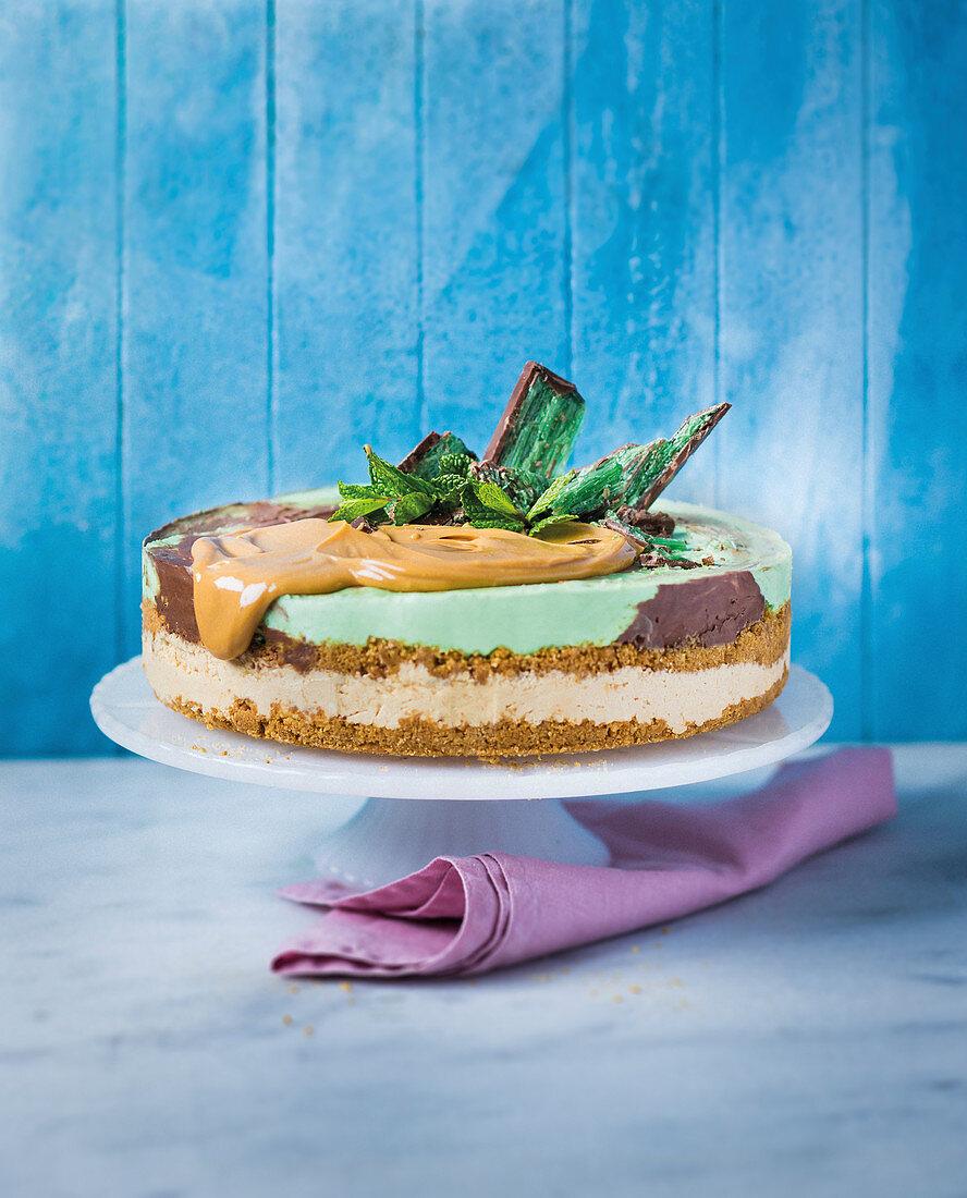 Peppermint crisp ice-cream cake
