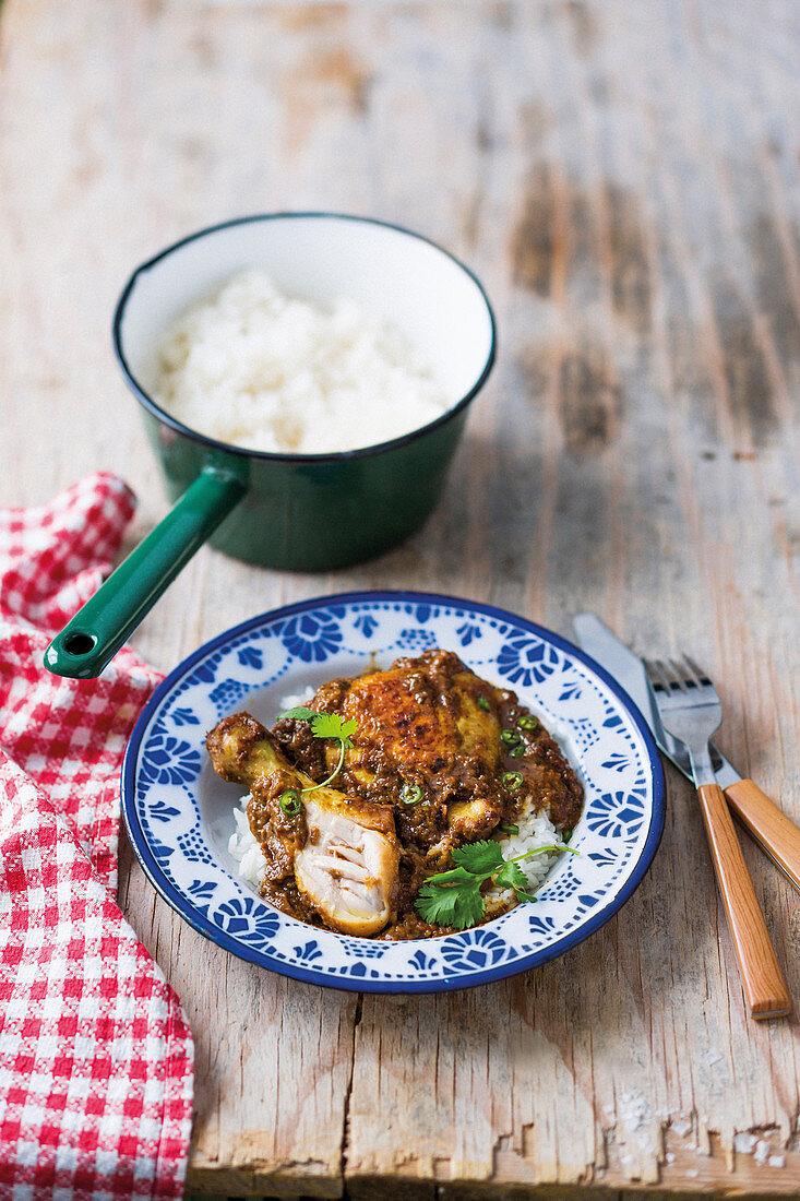 Satay chicken with jasmine rice