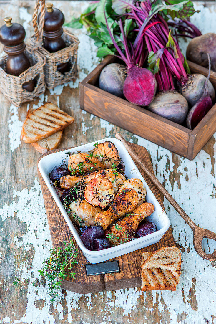 Roasted beetroot with chicken legs