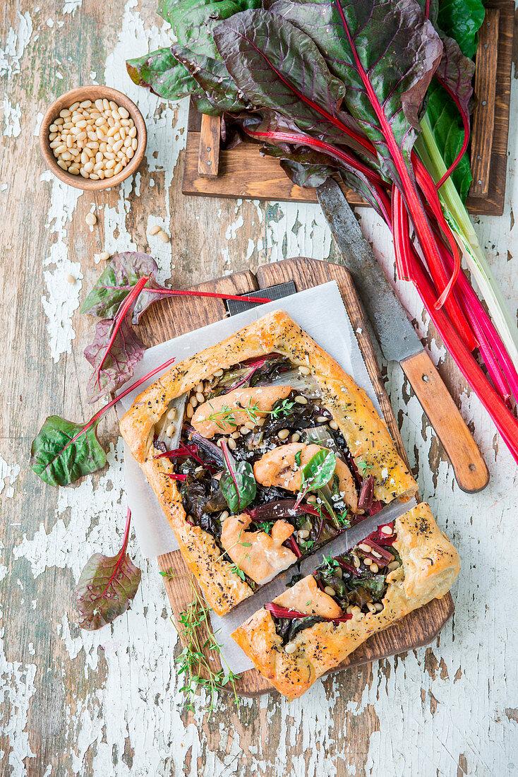Chicken pie with swiss chard