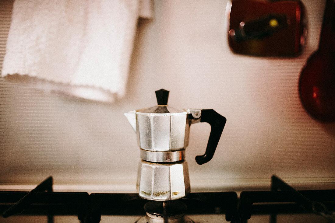 Espresso pot on a gas stove