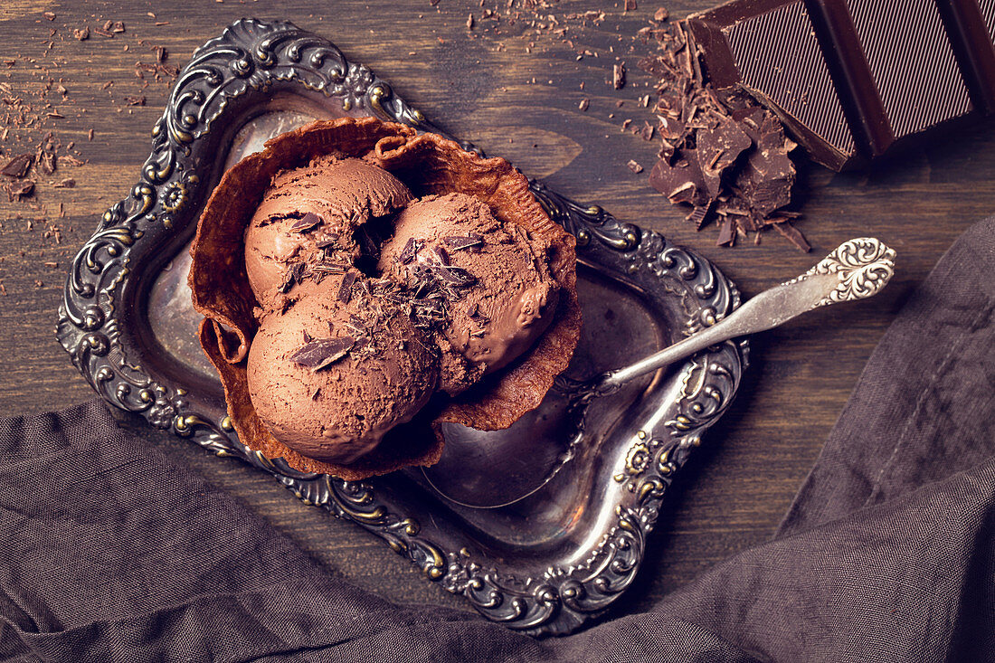 Homemade chocolate ice cream in a wafer bowl