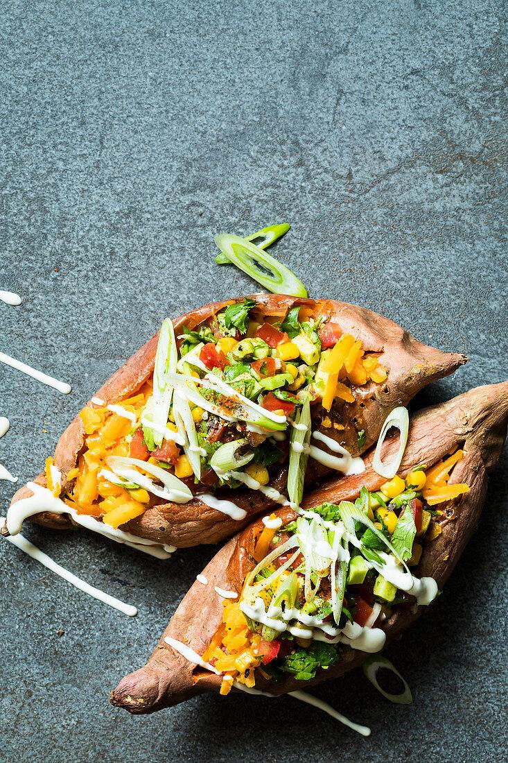 Stuffed, oven-roasted sweet potatoes