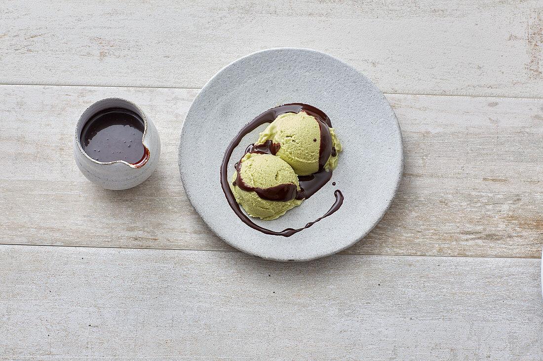 Lactose-free avocado and coconut sorbet