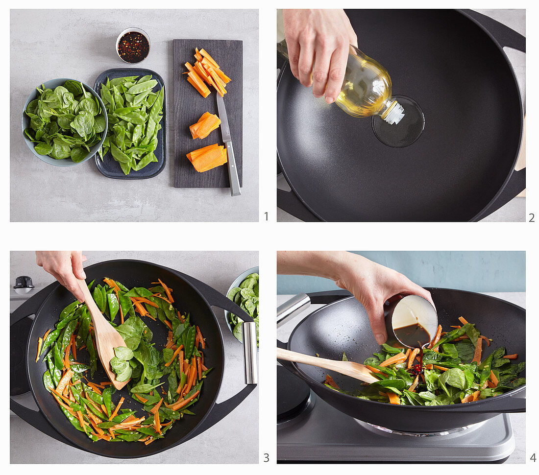 Flash-fried vegetables with chilli-soy sauce in a wok