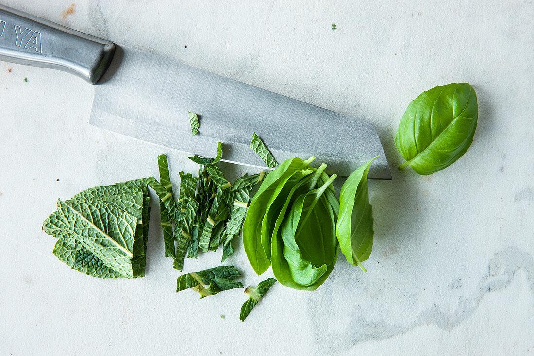 Basil and mint, freshly sliced