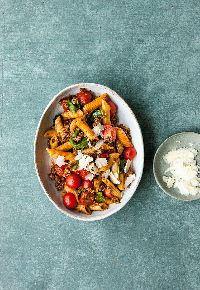 Penne with a colourful summer bolognese