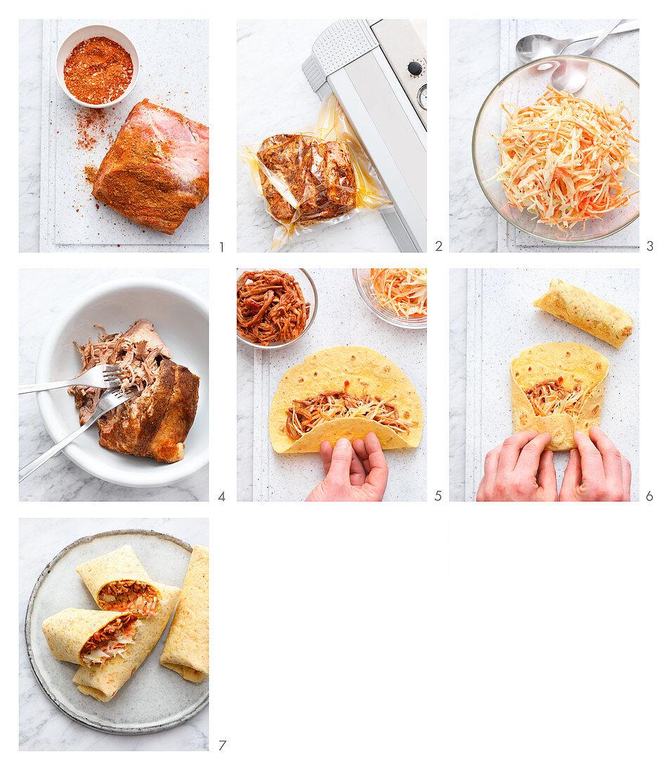Wraps mit Sous-Vide gegartem Pulled Pork zubereiten