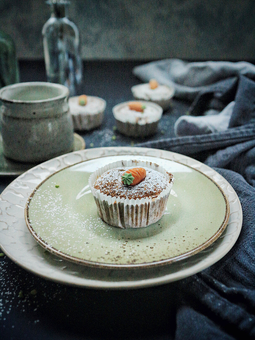 Carrot muffins with a paper case
