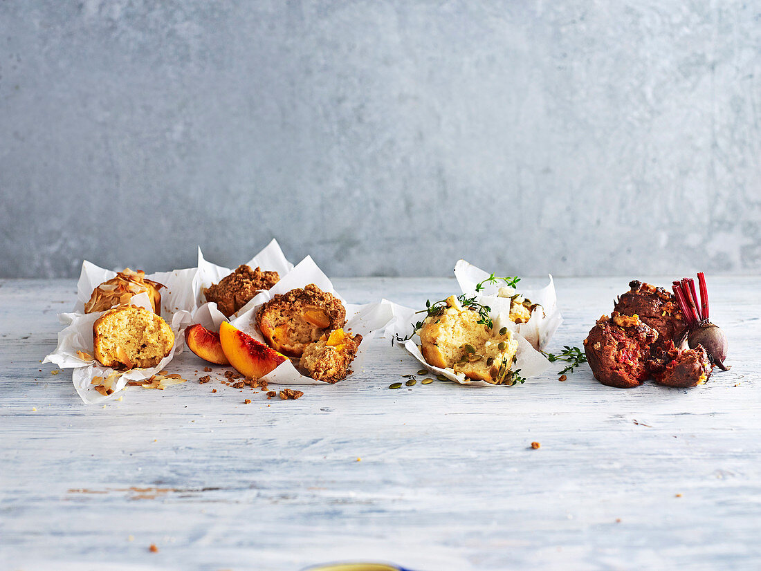 Sugar Free Muffins with Coconut and Vanilla, Peach and Ginger Crumble, Lemon Thyme and Fetta, Beetroot and Walnut