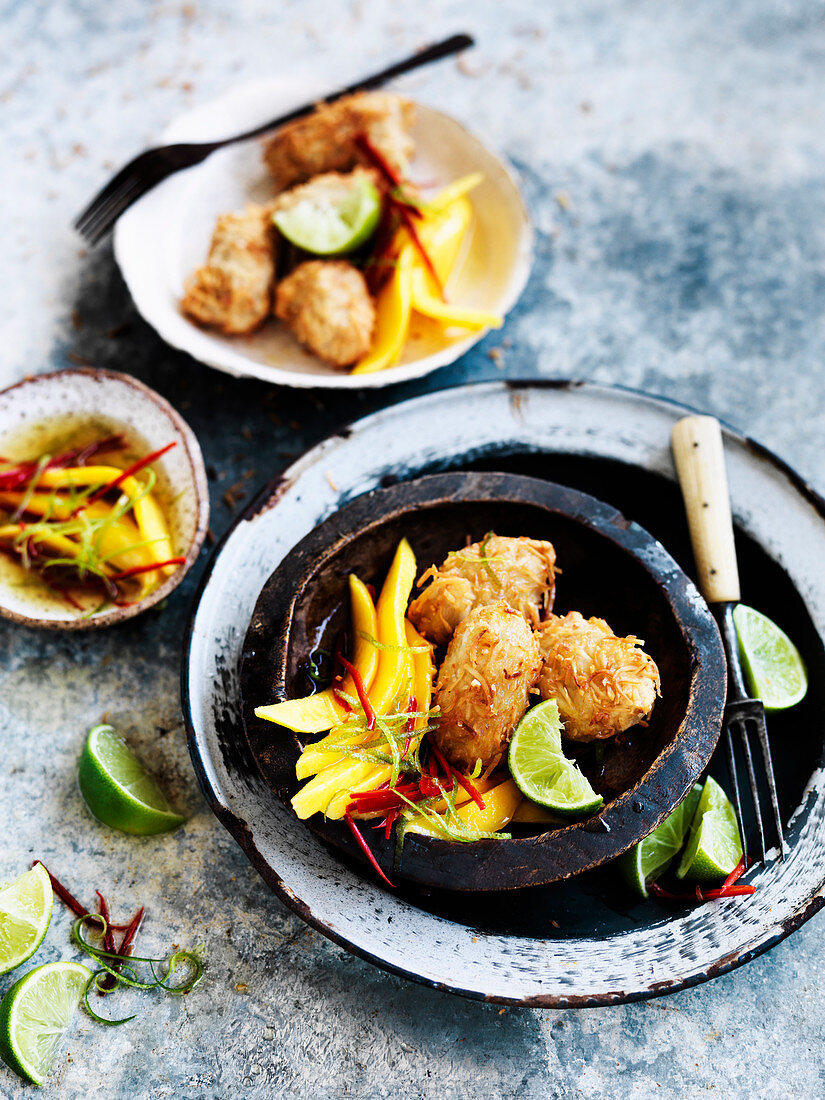 Coconut Fritters with Mango and Chilli Lime