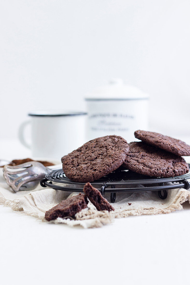 Espresso chocolate cookies on a wire rack