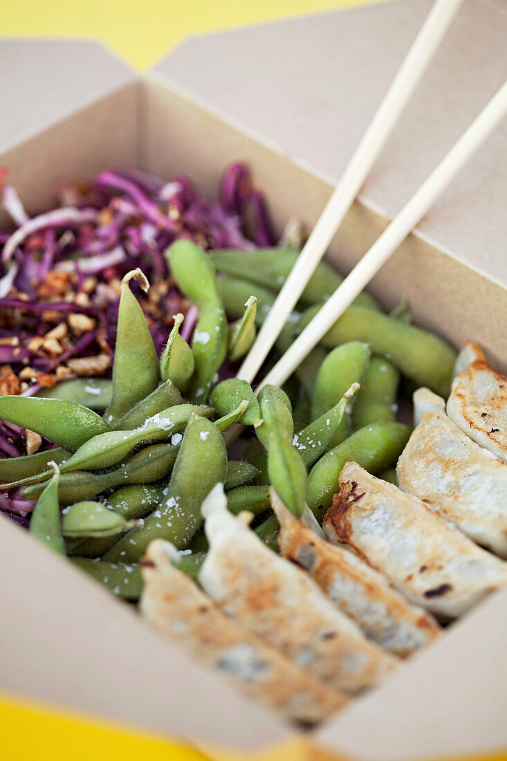 Gyoza, edamame and coleslaw in a lunchbox