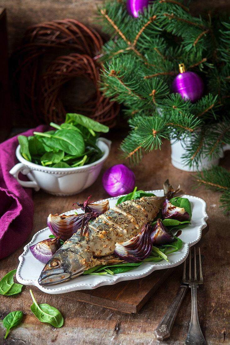 Roasted mackerel for Christmas