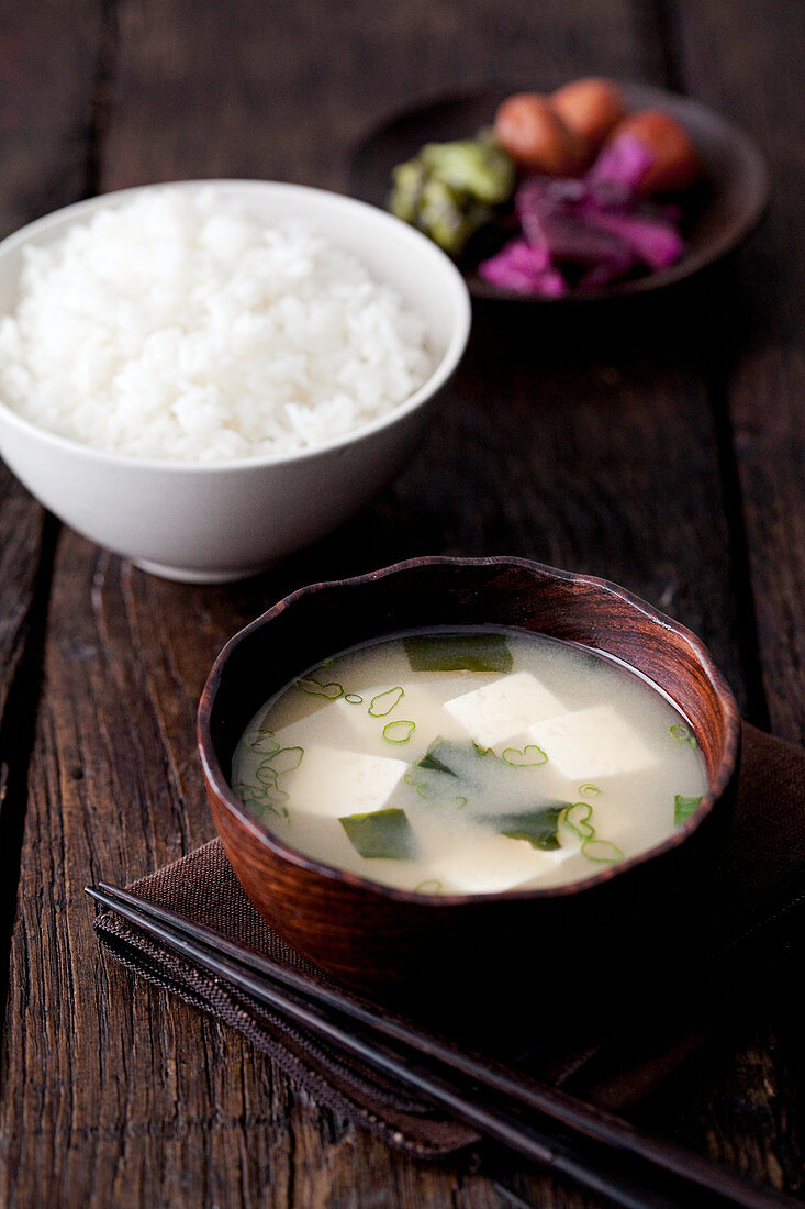 Miso Soup with Jasmine rice and pickles