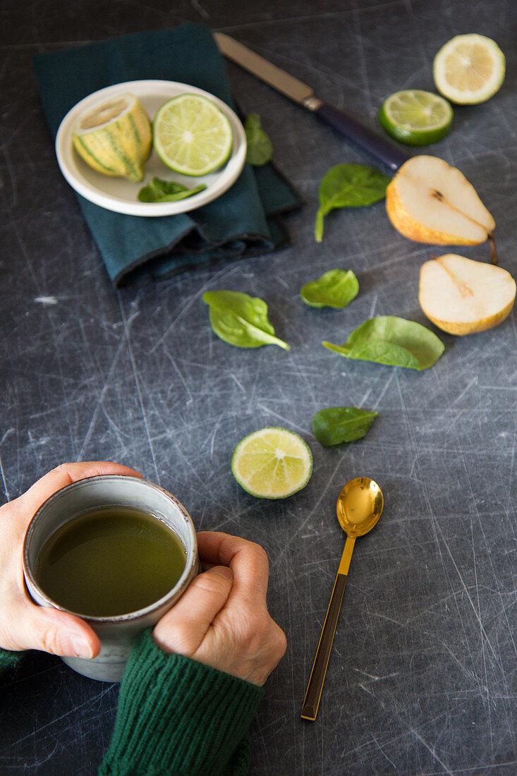 Green tea, limes, pears and basil