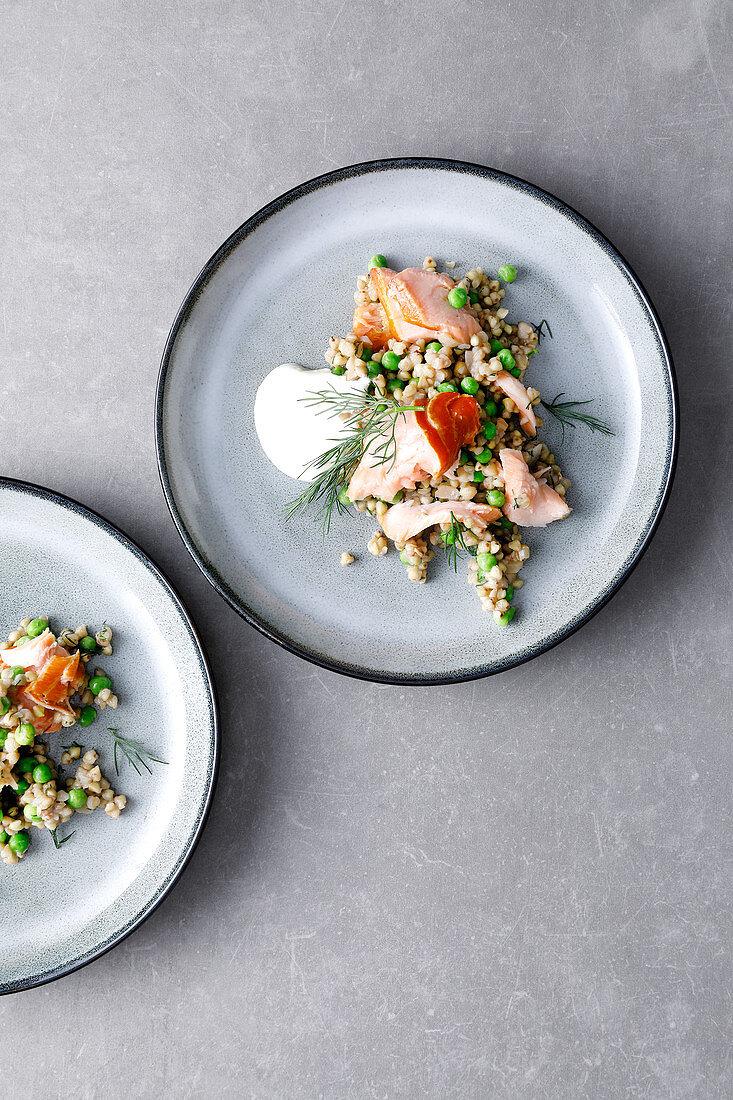 Buckwheat stew with salmon