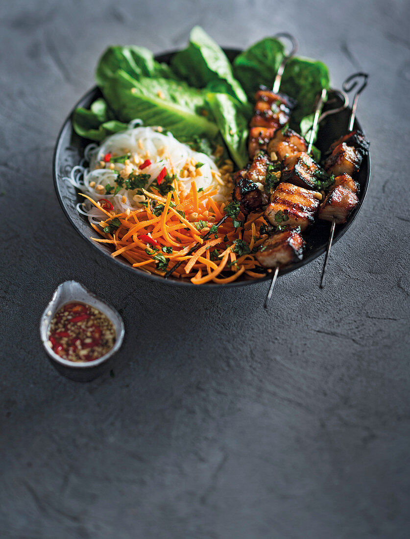Saigon honey pork on noodle salad