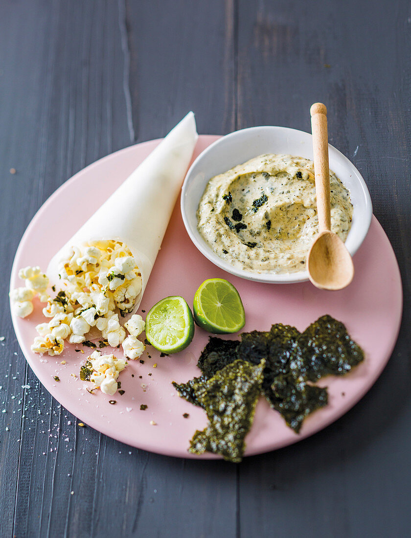 Nori chips with popcorn and dips