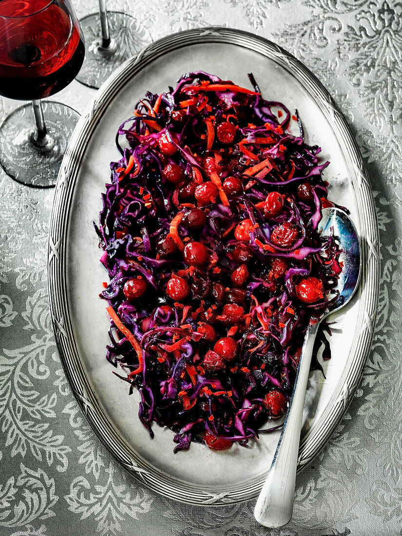 Christmas Red Cabbage and red peppers with cranberries