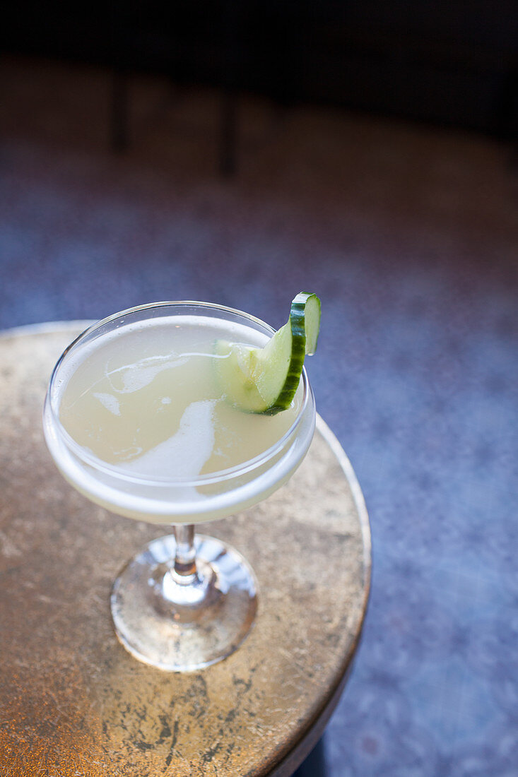 Gin cocktail (gin, Ancho Verde, lime, cucumber, dill and japlapeño)