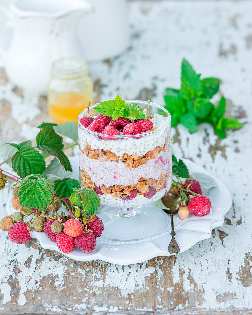 Raspberry dessert with chia seed, honey and granola in a glass