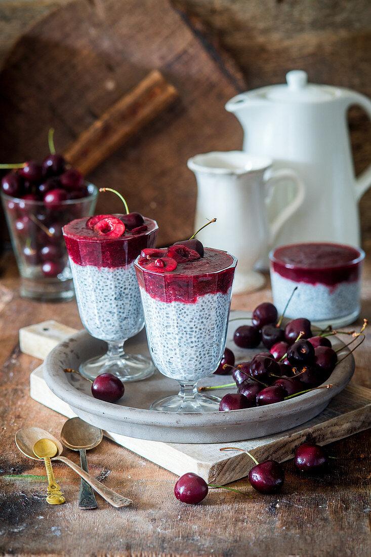 Chia pudding with cherry puree