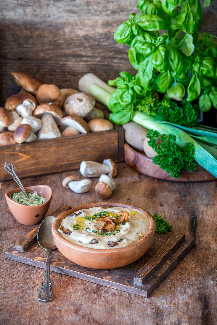 Mushroom, potato and leek cream soup