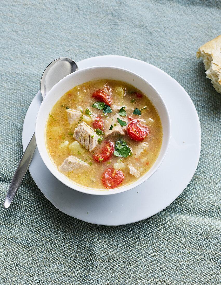 Mediterranean tuna fish stew with white wine