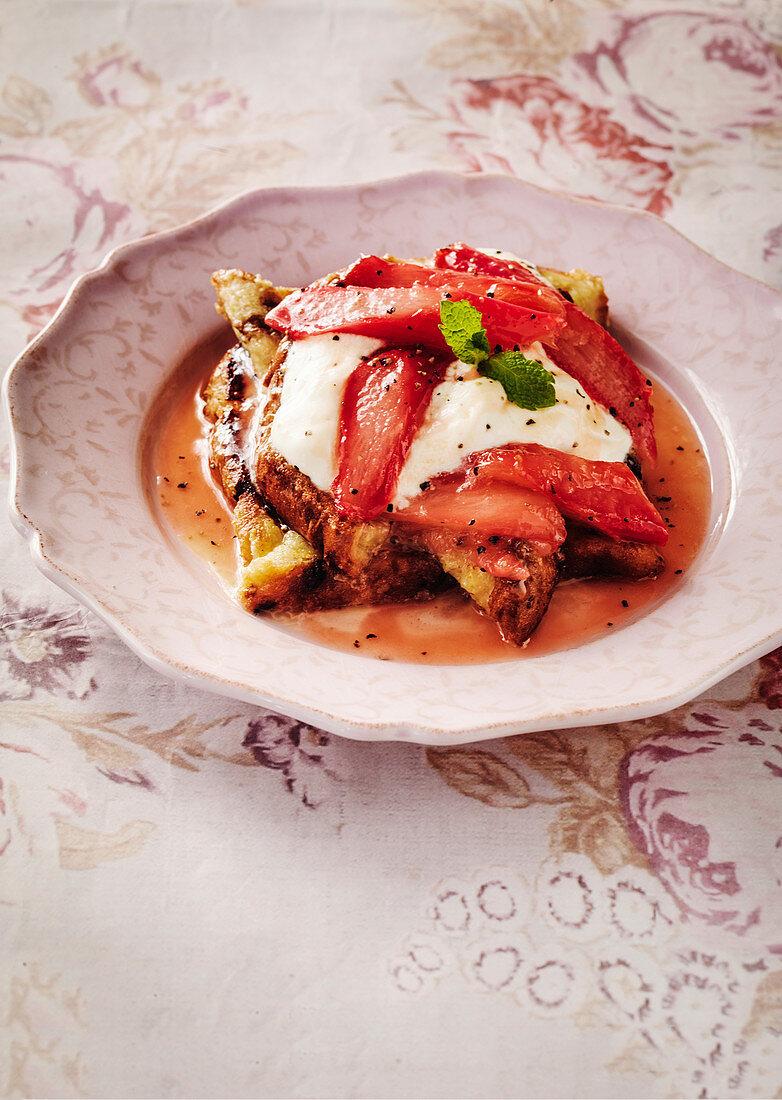 Rhubarb French Toast and creme fraiche
