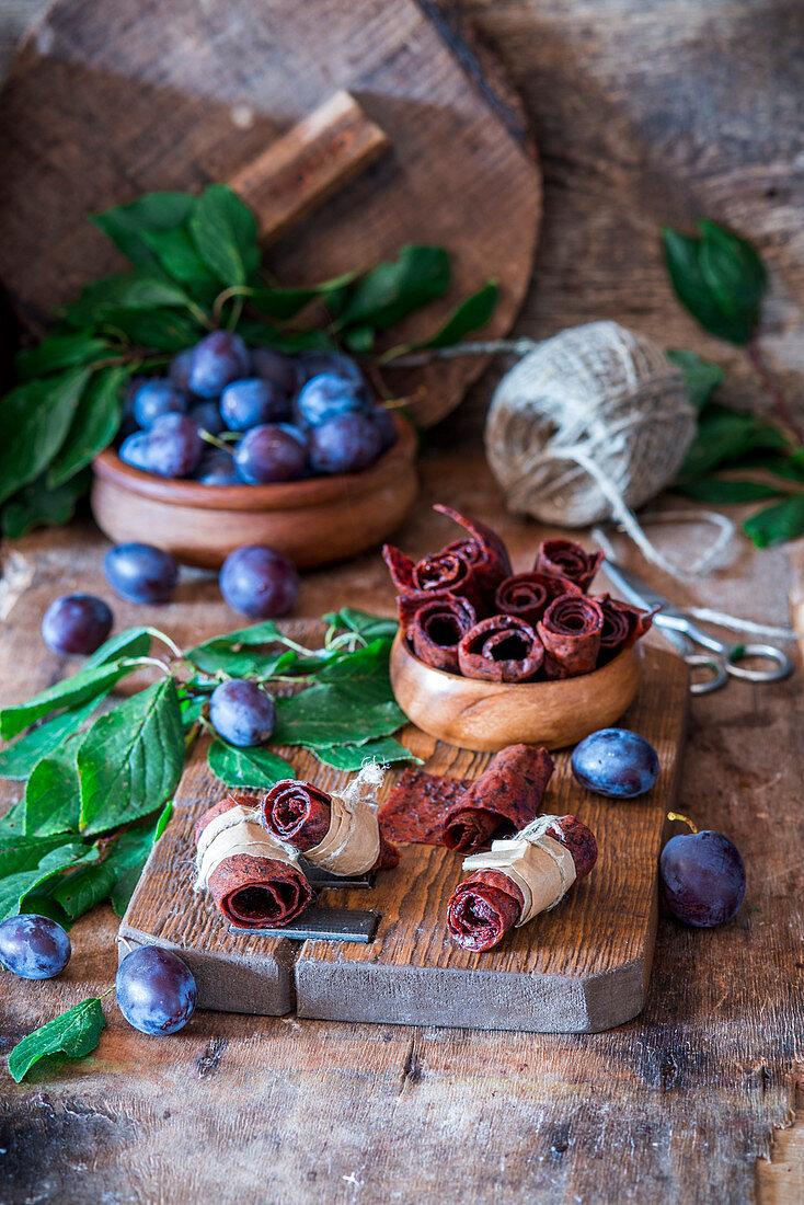 Dried plum puree (fruit leather)