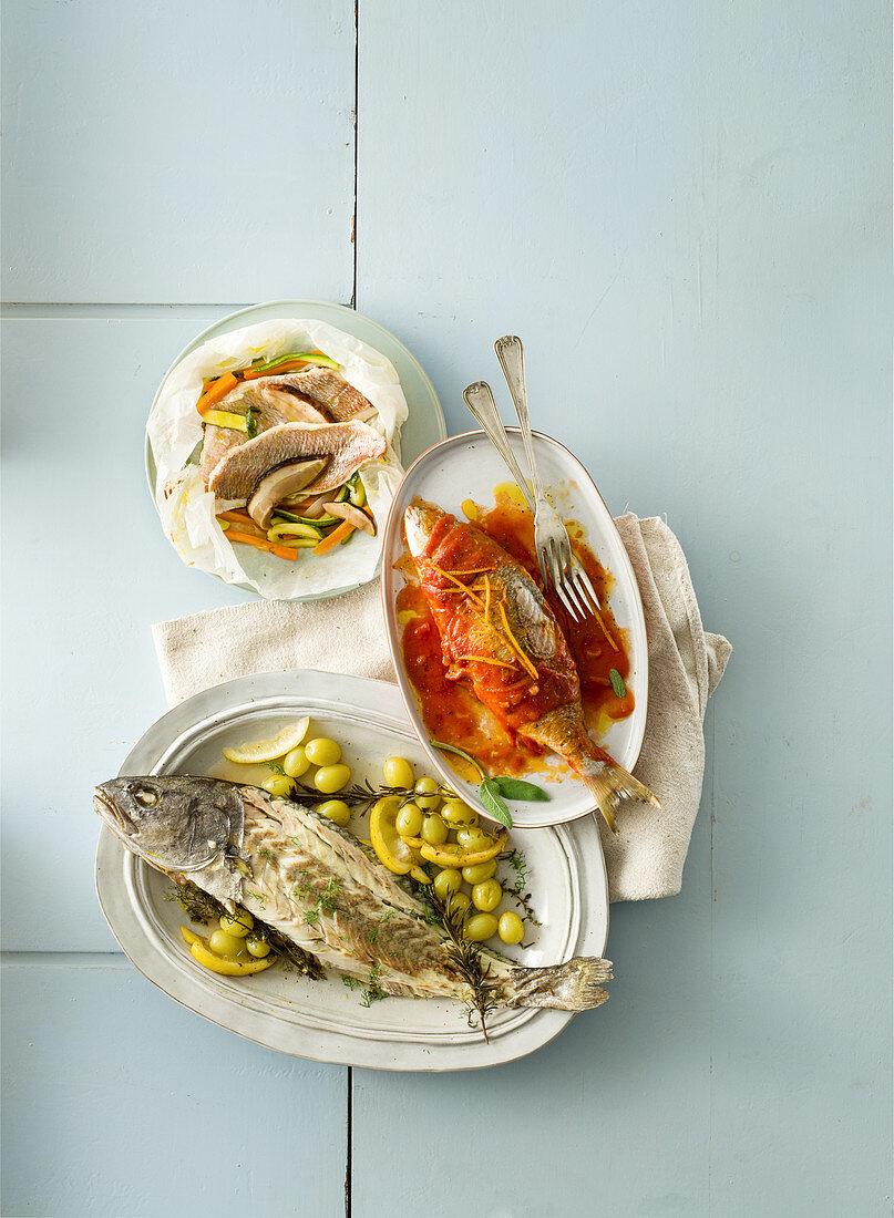 Rotbrassen mit Gemüse und Steinpilzen en papillote; Adlerfisch mit Kräuterfüllung im Trauben-Weiswein-Sud; Marmorbrasse in süss-saurer Sauce