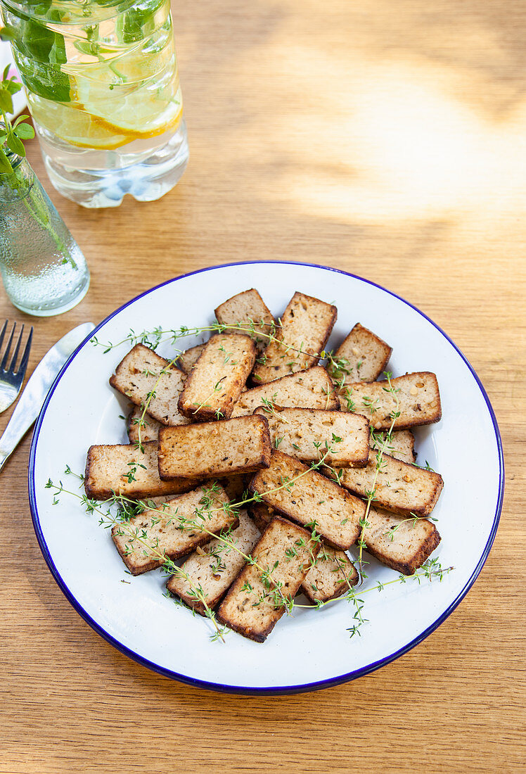 Marinated almond tofu with thyme