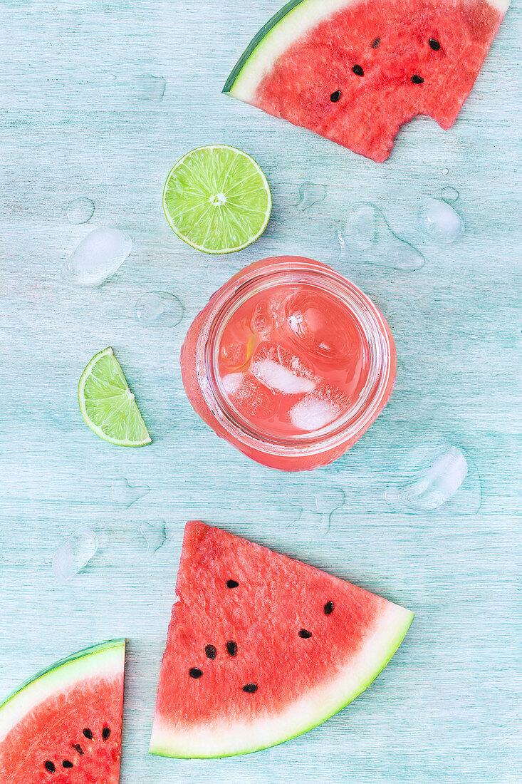 Glass jar filled with tasty watermelon drink