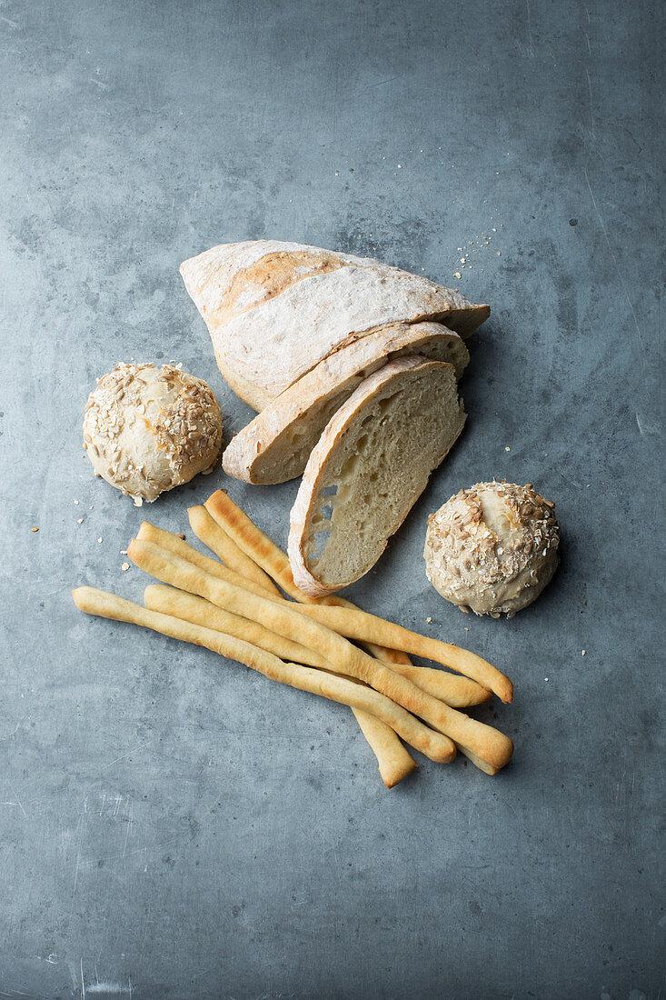 White bread, rolls and breadsticks