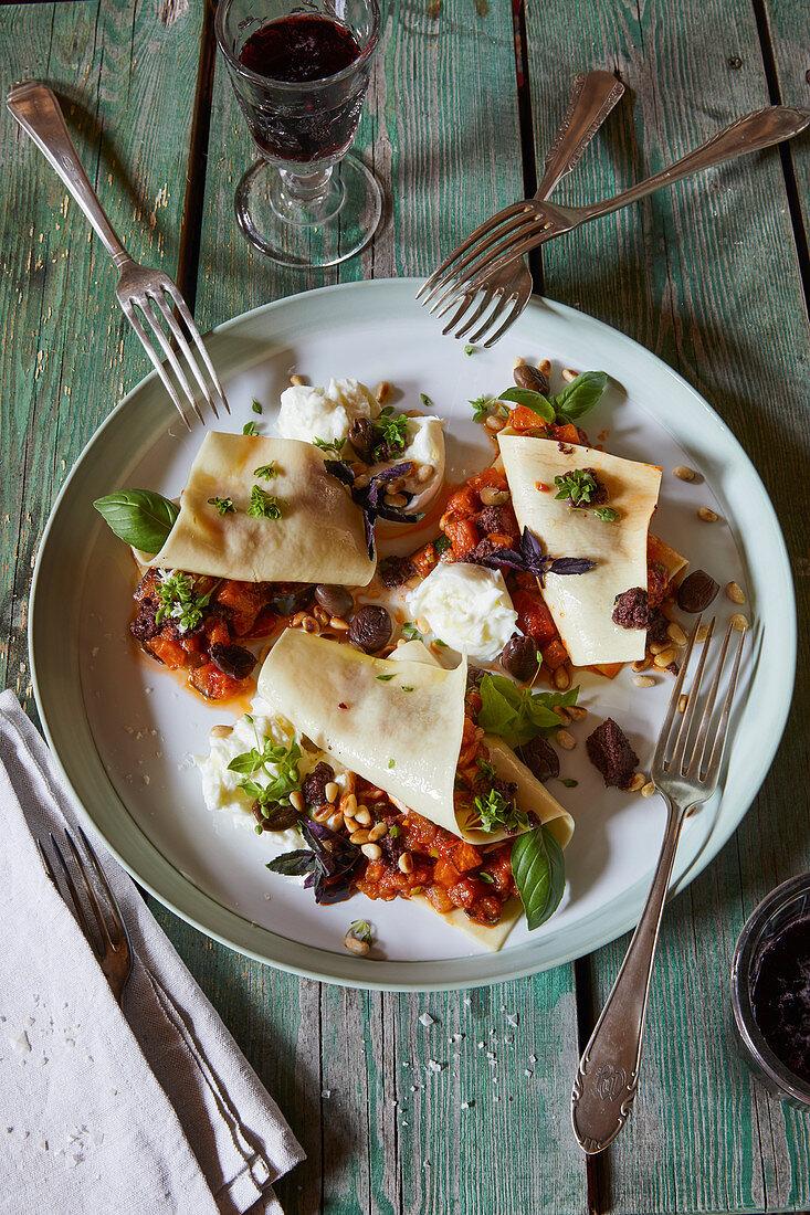 Open tomato lasagna with vegetable ragout and buffalo mozzarella