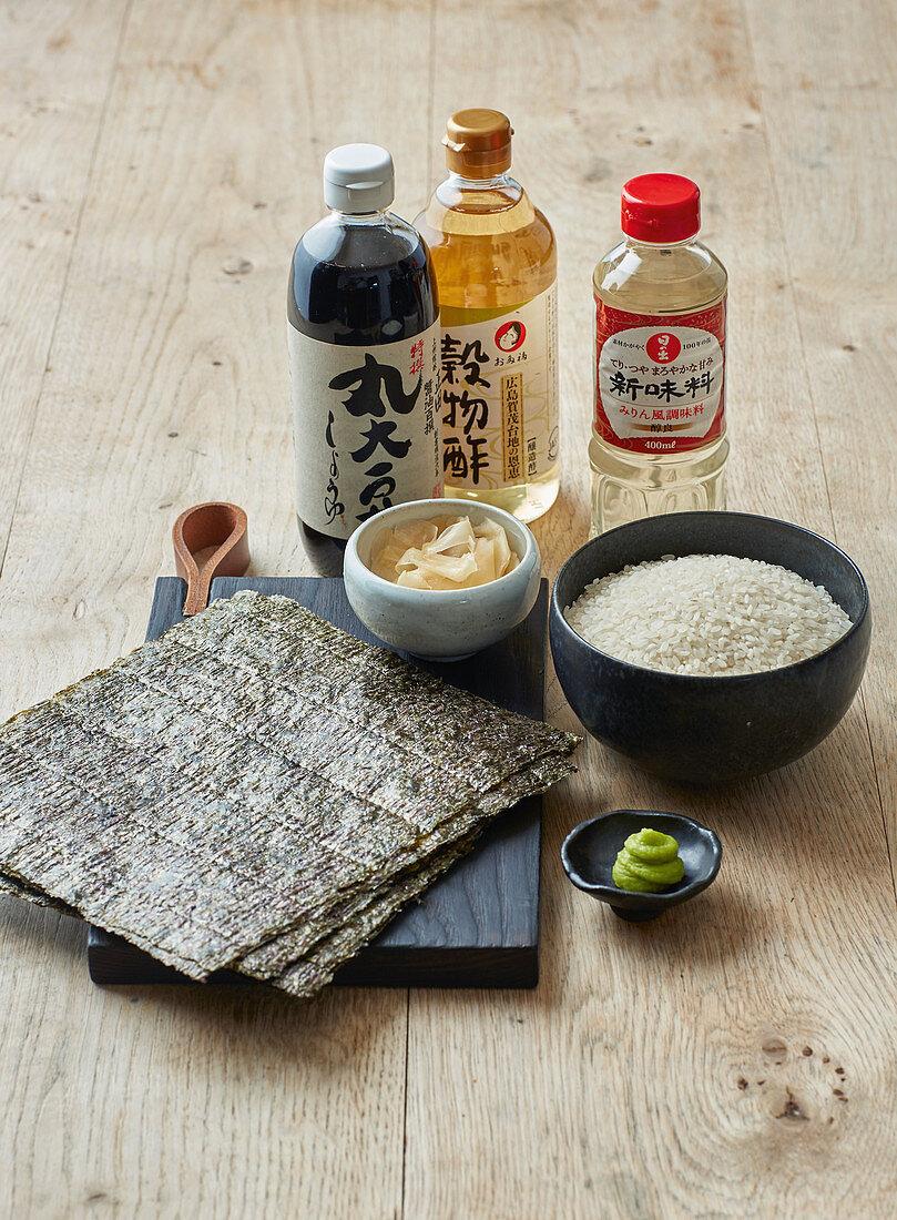 Sushi ingredients – rice, rice vinegar, nori, pickled ginger, wasabi
