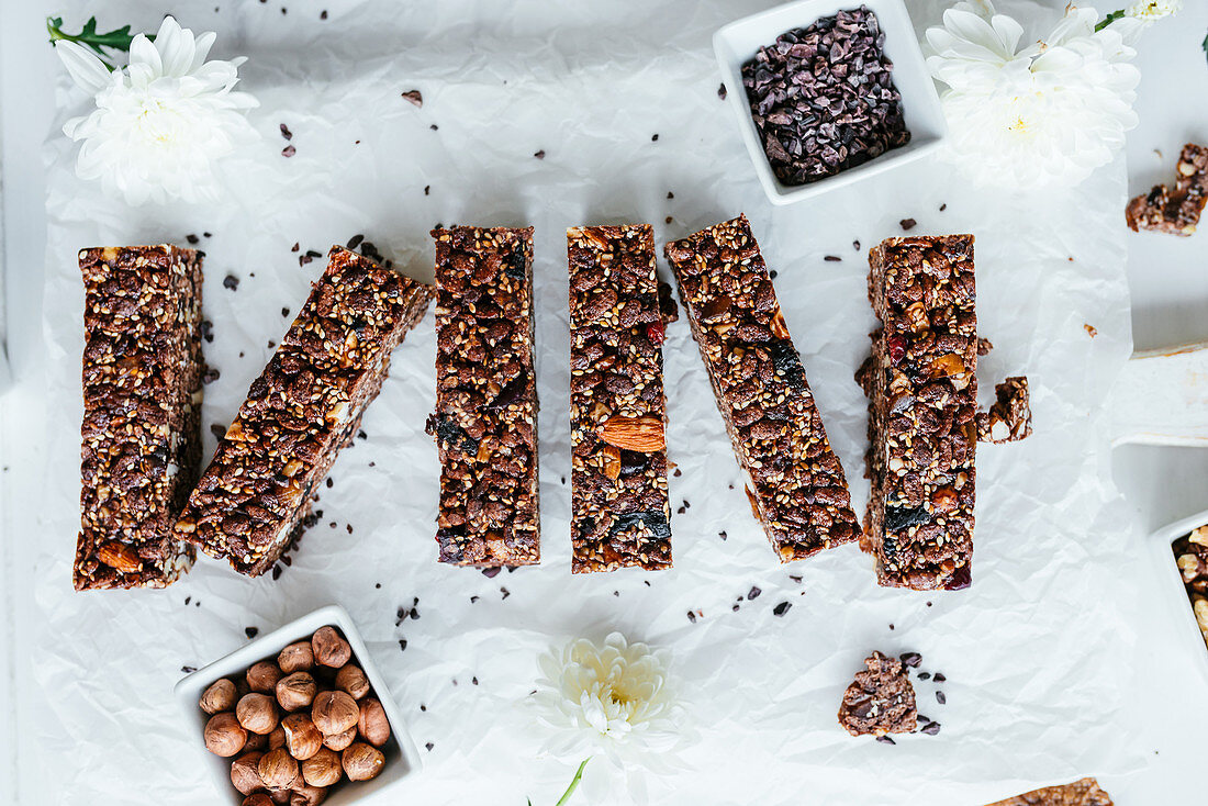 Healthy crunch bars made with honey cocoa and different type of nuts