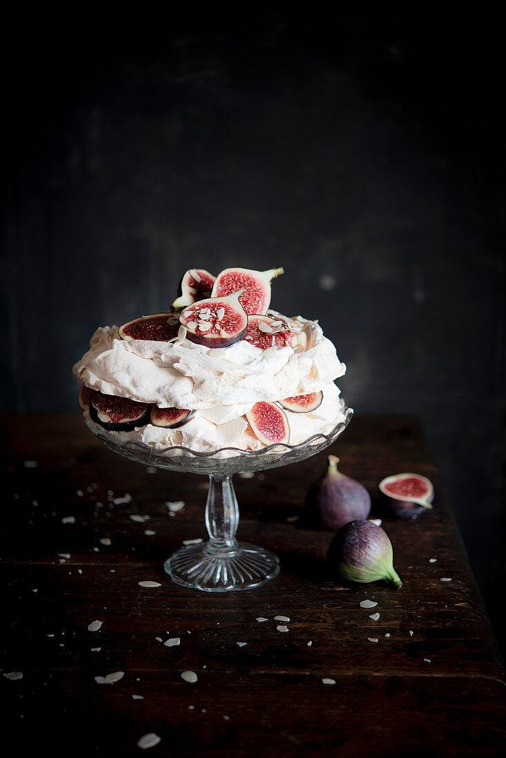 A fig and almond pavlova