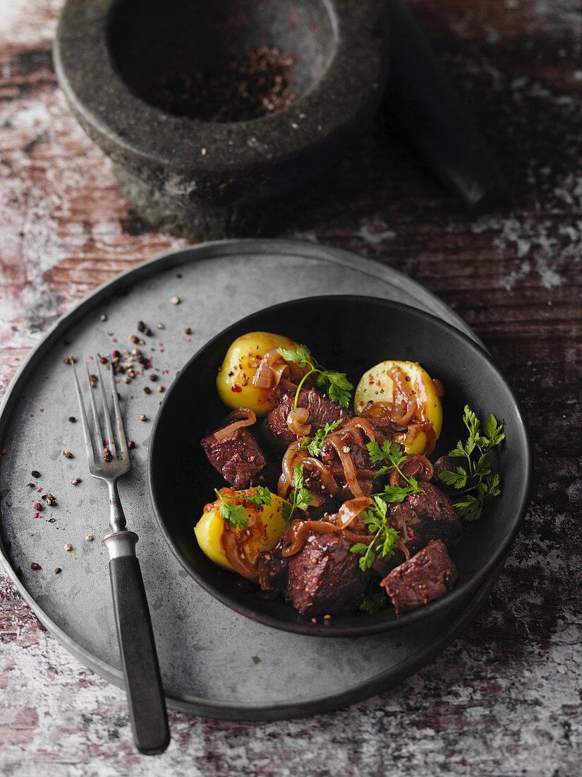 Classic 'Pfefferpotthast' – beef stew, North-Rhine Westphalia, Germany