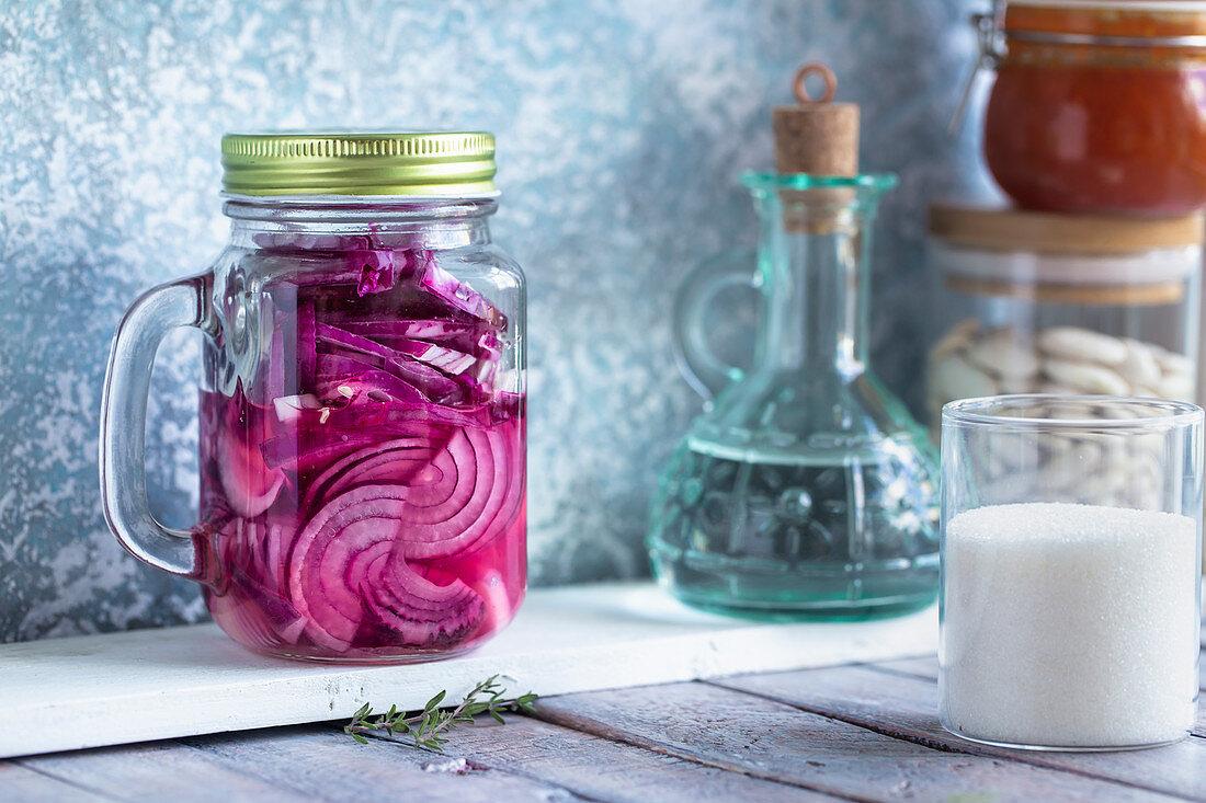 Jar of pickled purple onion