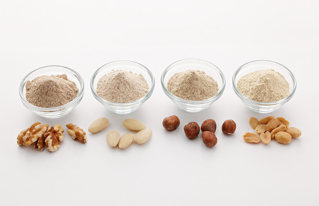 Various types of nut flour