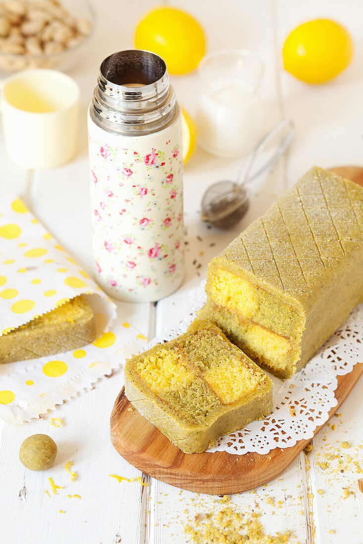 Pistachio and Lemon Battenberg Cake with a Flask of Tea