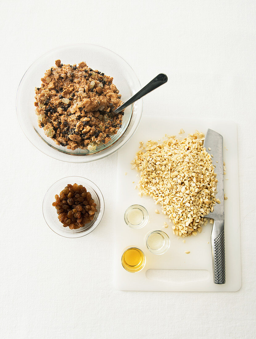 Ingredients for Christmas cake with a golden angel's hair crust