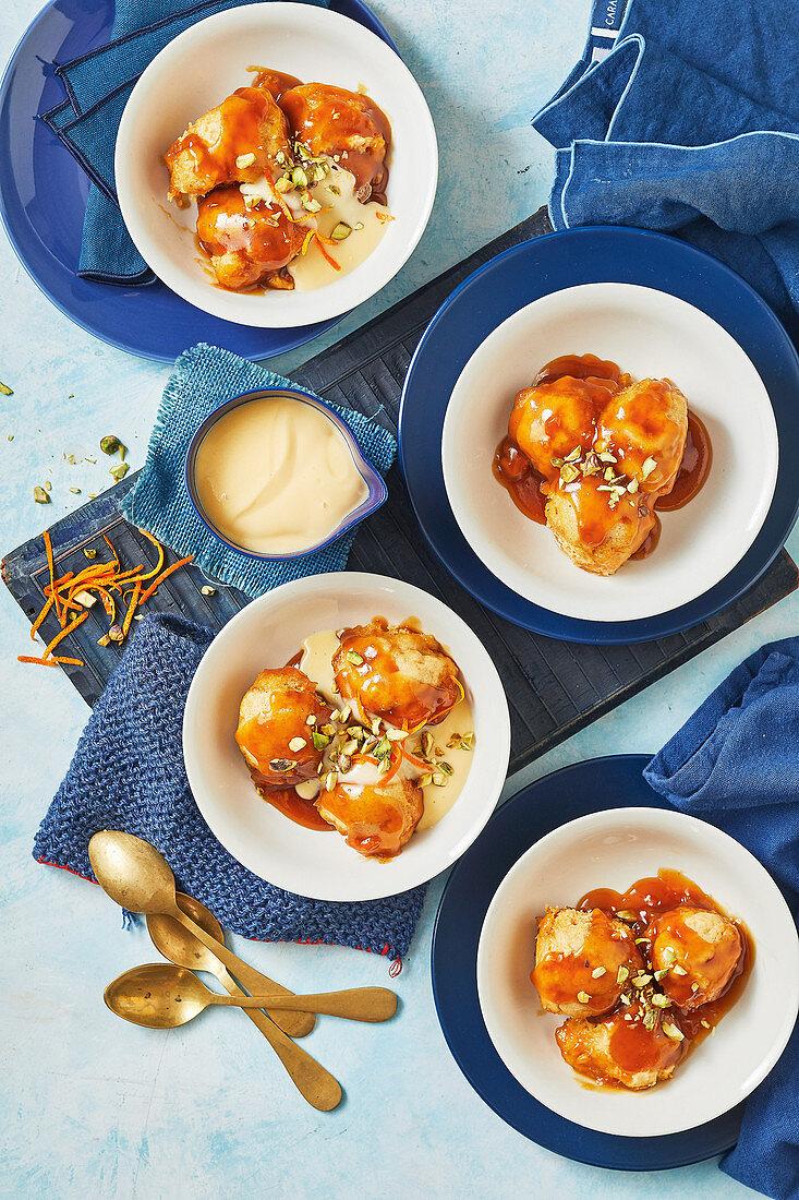 Orange-spiced golden syrup dumplings