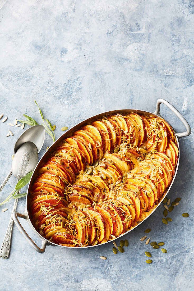Healthier potato and sweet potato bake