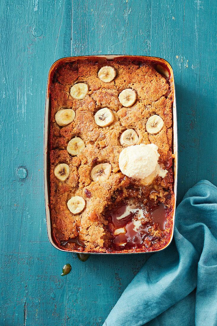 Date and banana self-saucing pudding